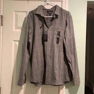 NWT Marc Anthony Gray Slim Fit Button Down